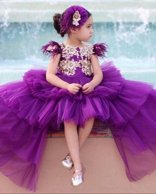 Jewel Tulle High Low Lavender Princess Flower Girl Dresses_3
