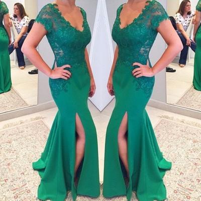 Short Lace Sleeves V-neckline Applique Mermaid Green Prom Dress_3
