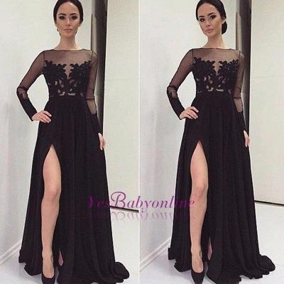 Long-Sleeves Bateau Side-Slit Appliques Black Elegant Prom Dress_1