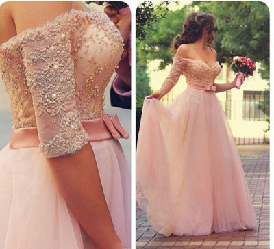 Elegant Pink Prom Dresses Off-the-Shoulder Beaded A-line Evening Gowns_2