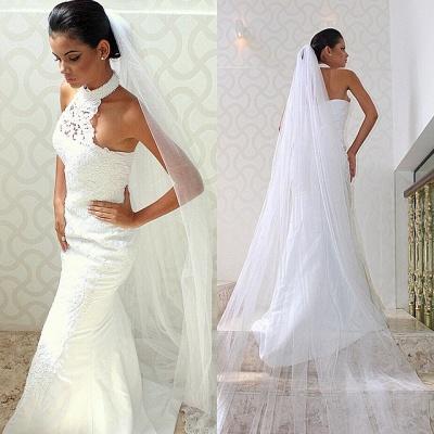 Sleeveless Court-train Chic Lace Halter Sexy Mermaid Wedding Dress_3