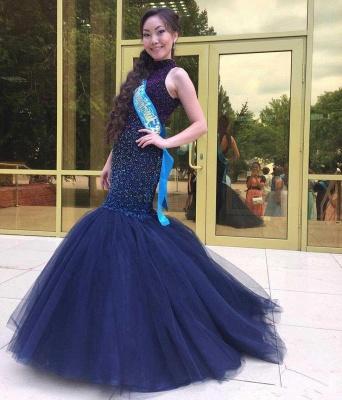 2019 Halter Neck Beading Keyhole Back Navy Blue Long Mermaid Prom Dresses_5