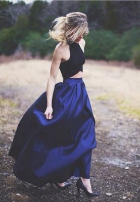 Blue Navy Elegant Two-Piece Puffy Prom Dresses_2