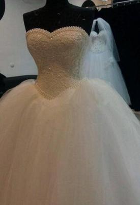 Glitter Sweetheart Neck Pearls Sleeveless Ball Gown Princess Wedding Dresses_2