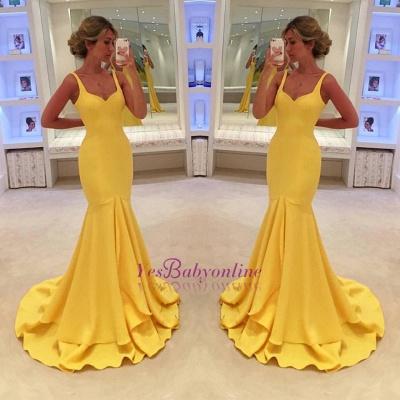 Mermaid Yellow Spaghetti-Straps Simple Tiered Prom Dress_1