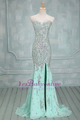 Luxury Mint Crystals Prom Dresses Sweetheart Neck Chiffon Side Slit Evening Gowns_1