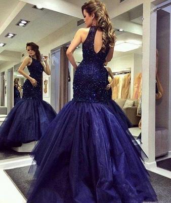 2019 Halter Neck Beading Keyhole Back Navy Blue Long Mermaid Prom Dresses_4