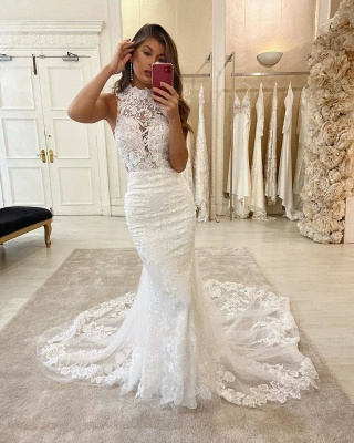 Elegant High Neck Lace Fiteed Mermaid Floor Length Wedding Dresses_1