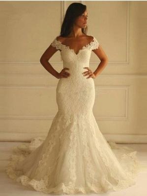 Glamorous Lace-Applique Off-The-Shoulder Mermaid Wedding Dresses_2