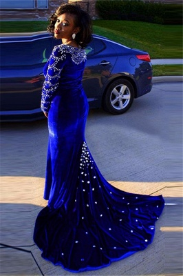 V-Neck Crystal Sexy Mermaid Royal-Blue Long-Sleeves Velevt Prom Dress_2
