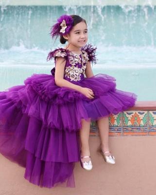 Jewel Tulle High Low Lavender Princess Flower Girl Dresses_4