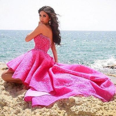Glamorous Sweetheart Lace Beadings Hi-lo Homecoming Dress_3