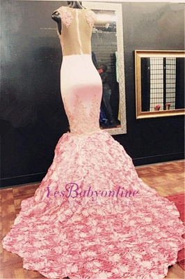 Sleeveless Flowers-Bottom Pink Appliques Mermaid Lace Illusion Gorgeous Prom Dress_1