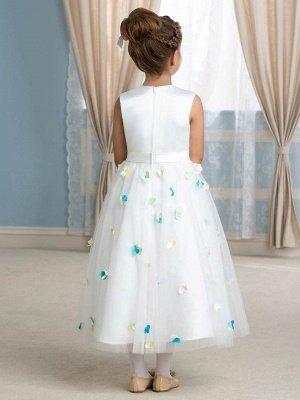 Cute A-Line Tulle Scoop Tea-Length Floral Flower Girl Dress_3