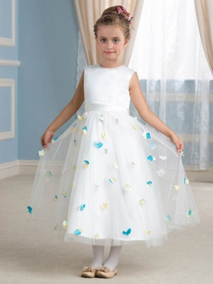 Cute A-Line Tulle Scoop Tea-Length Floral Flower Girl Dress_1