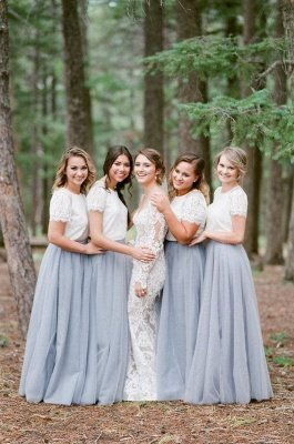 Long Short-Sleeve Silver 2019 White Lace Bridesmaid Dresses_3