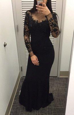 2019 Black Long Sleeves Prom Dresses Bateau Neck Mermaid Evening Gowns_2