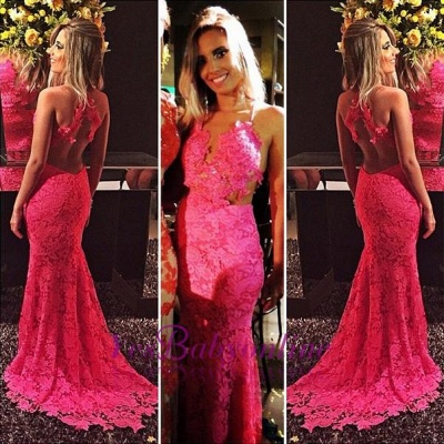 Sexy Mermaid Open-Back Sleeveless Sexy Lace Appliques Red Prom Dresses_1