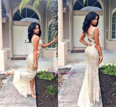 V-neck Sleeveless Floor-length Front-Split Crystals Gorgeous Prom Dress_1