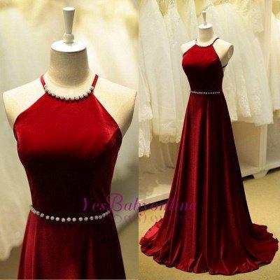 Halter Neck Long Prom Dresses Dark Red Sleeveless Beadings Elegant Evening Dress_1