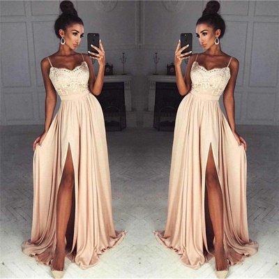 Gorgeous Split Chiffon Prom Dresses   Sexy Spaghetti Straps Evening Gowns_3