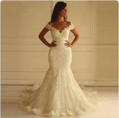 Glamorous Lace-Applique Off-The-Shoulder Mermaid Wedding Dresses_4
