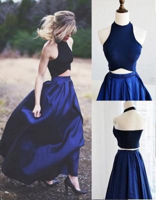 Blue Navy Elegant Two-Piece Puffy Prom Dresses_3
