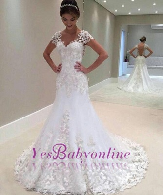 Cap Sleeves Lace Beading Open Back Mermaid Wedding Dresses_1