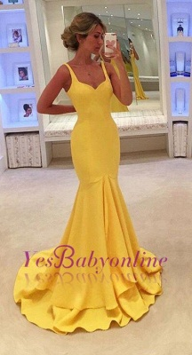 Mermaid Yellow Spaghetti-Straps Simple Tiered Prom Dress_4