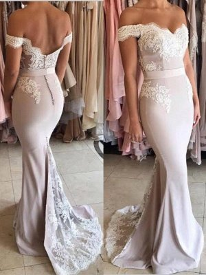Elegant Lace Appliques Evening Gowns | Off-the-Shoulder Sash Formal Dresses_1