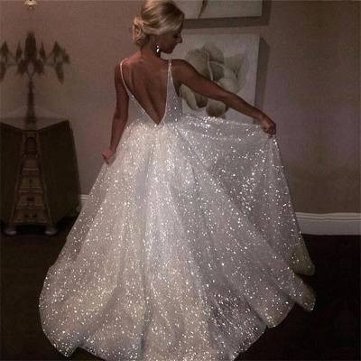 V-neck Sleeveless Long Prom Dresses | A-line Sequins White Evening Gowns_4