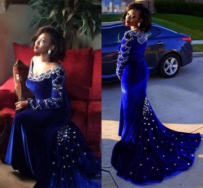 V-Neck Crystal Sexy Mermaid Royal-Blue Long-Sleeves Velevt Prom Dress_3