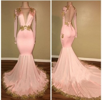 Sexy Mermaid Prom Dresses Deep V-Neck Long Sleeves Gold Appliques Evening Gowns_3