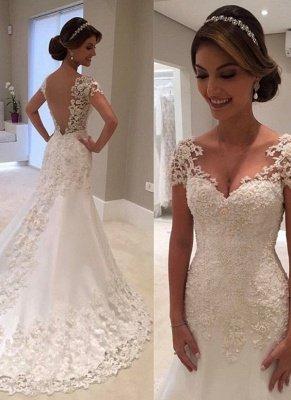 Cap Sleeves Lace Beading Open Back Mermaid Wedding Dresses_5