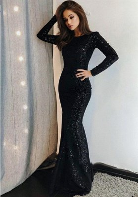 Sexy Mermaid Black Sequins Prom Dresses with Long Sleeves_1