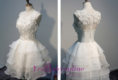 Short  Lace Sleeveless Lace-Appliques Hot Layers White Homecoming Dress_1