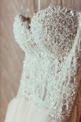 Tulle Glamorous Beadings Princess Sweetheart Lace Wedding Dress_4