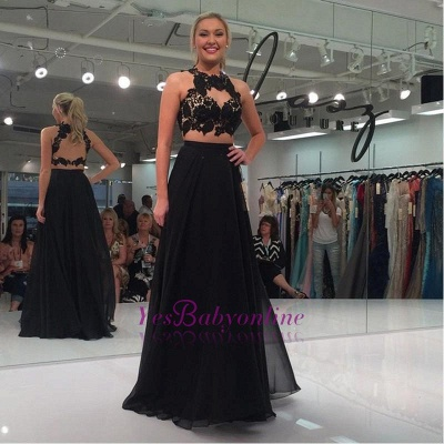 Sleeveless Two-Piece Sexy Black Lace-Appliques A-line Prom Dress_1