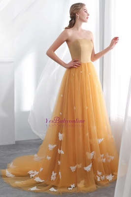 Fashion Sheath Gold Long Floor-Length Sash Evening Dresses_4