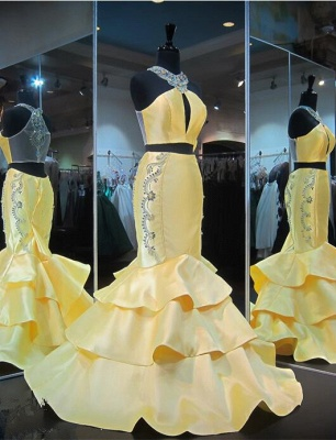 Crystals Mermaid Ruffles Sleeveless Halter Yellow Gorgeous Zipper Evening Gown_2