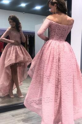 Hi-Lo Zipper Long-Sleeves Bateau Prom Dress_2