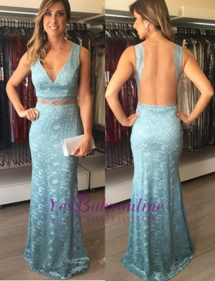 Lace Empire Long Sheath V-Neck Open-Back Evening Dresses_1