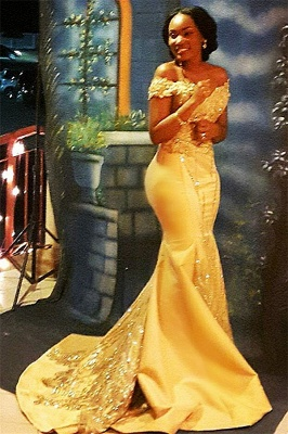 Yellow Mermaid Beading Prom Dresses Off-the-shoulder Long Evening Gowns_1