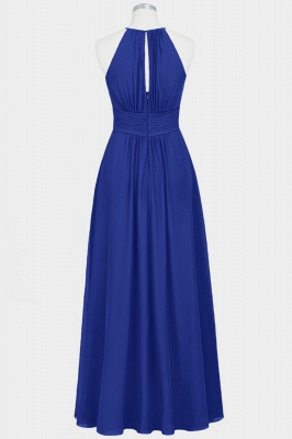 A Line Chiffon Round Neck Floor Length Bridesmaid Dresses With Ruffles_2