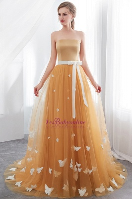 Fashion Sheath Gold Long Floor-Length Sash Evening Dresses_2