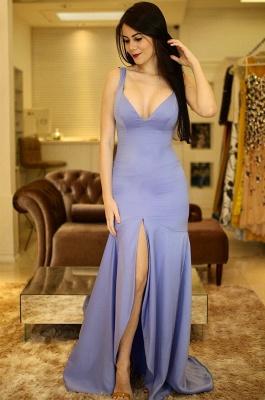 A-Line Sexy V-Neck Sleeveless Front-Slit Prom Dresses_2