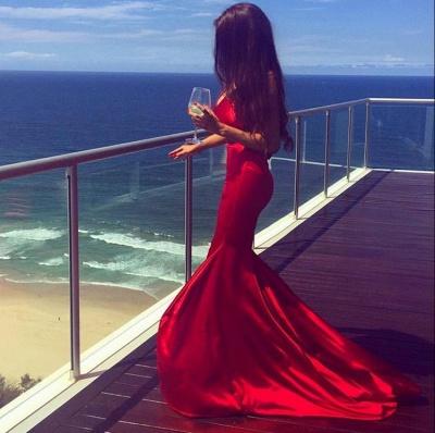 Simple Sleeveless Mermaid V-neck Red Long Prom Dress_3