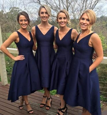 V-neck Dark-Navy Sleeveless A-line High-low Birdesmaid Dresses_3