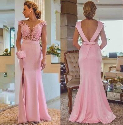 Pink Sheath Lace Evening Dresses | Cap Sleeves Open Back Side Slit Formal Dress_3