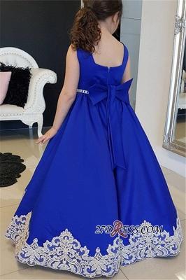 Blue Floor-length Royal A-Line Straps Flower Appliques Girl dresses_3